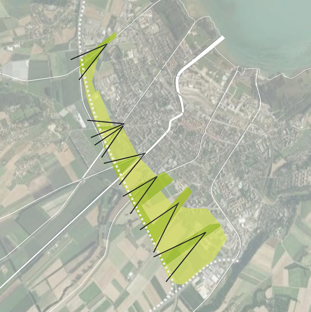 Figure 6: Un seuil vert Figure 7: Vocations fonctionelles: a) activités artisanales b) habitat/tertiaire/commerce c) Y-parc Figure 8: Accessibilité motorisé Figure 9: Mobilité douce