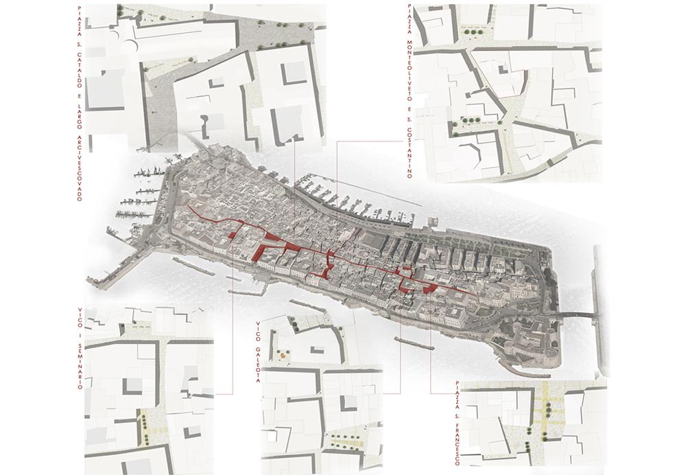 Figura 5. Masterplan. Recosido de espacios y ramificaciones que se sitúan a lo largo del eje estructurante urbano.
