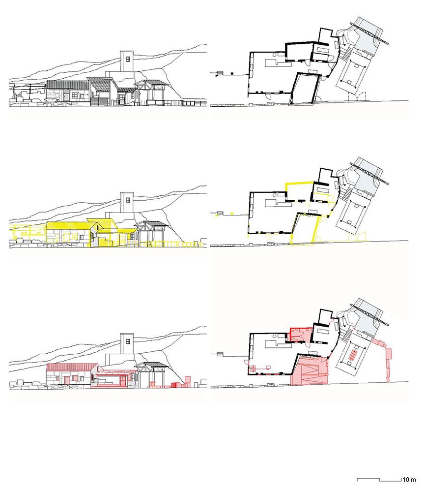 Figura 7. A la izquierda, taller. Plantas y secciones de las tres fases de proyecto. En negro lo existente (arriba), en amarillo, demolición (centro) y en rojo, nuevos elementos (abajo) Figura 8. A la derecha, axonométrica del taller.