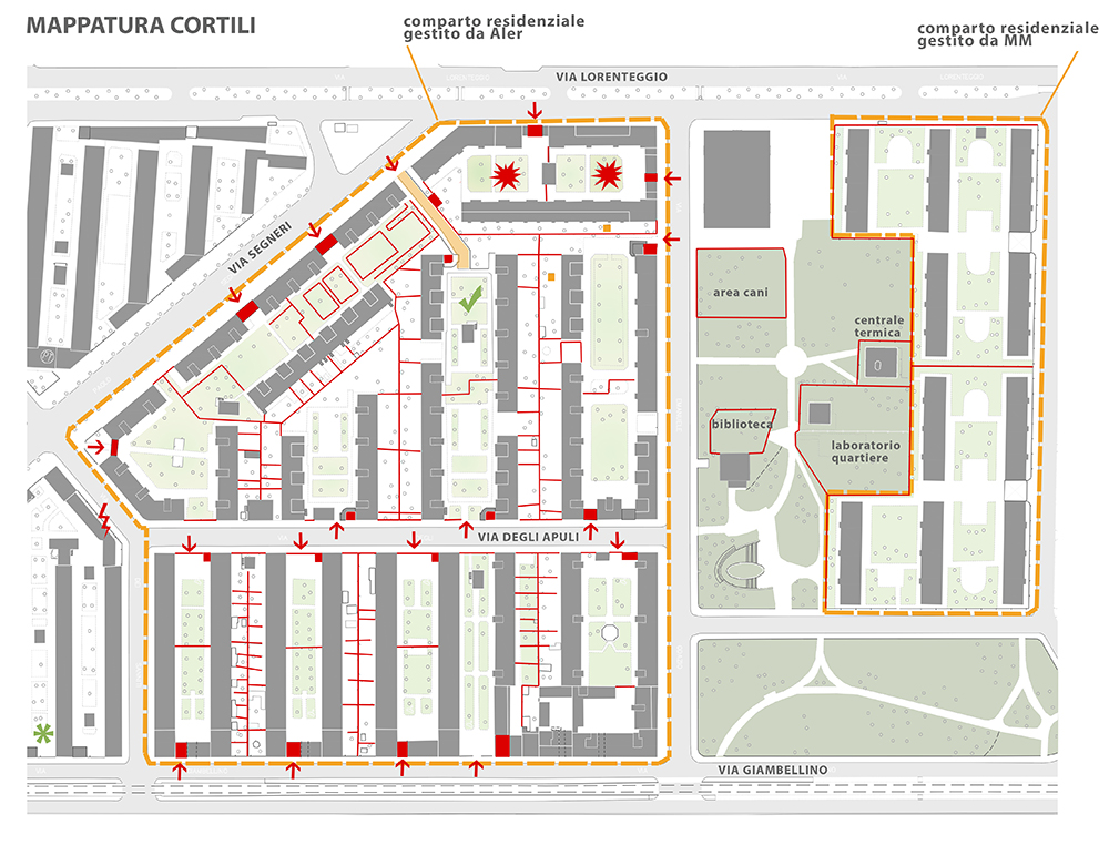 Figura 7. Plano de los patios y de la subdivisión del Parque Odazio.
