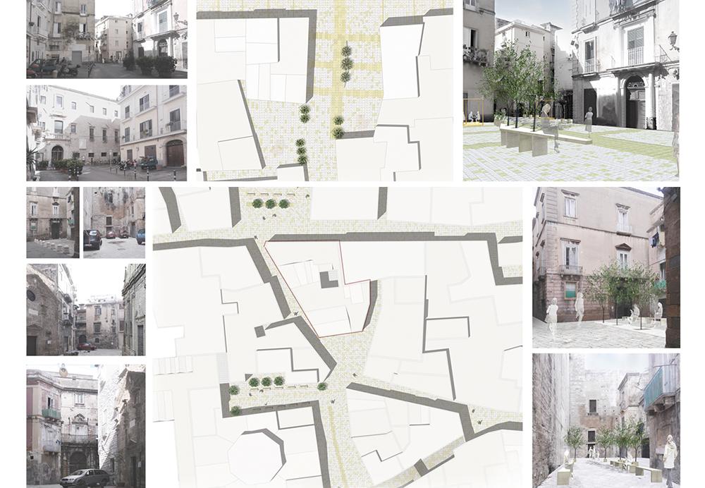 Figura 7. Ejemplos del proyecto: planimetría, imágenes del estado actual (izquierda) y del estado de proyecto (derecha).