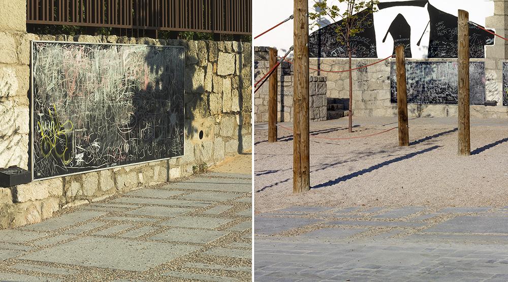 Figura 9. Imágenes del parque infantil, en donde se puede ver la transición entre usos y su relación con las fachadas