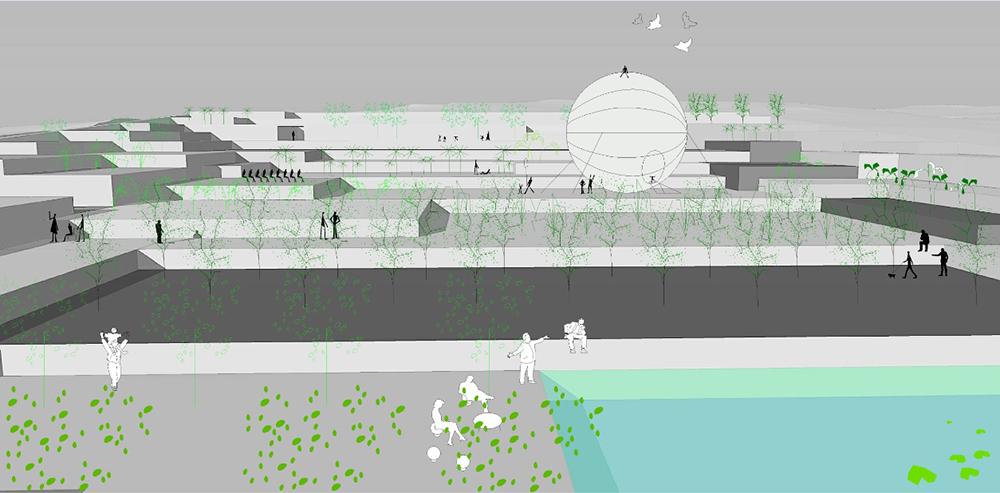 Figura 8. Paisaje productivo y espacios de entretenimiento. Imagen virtual del vaso restaurado.