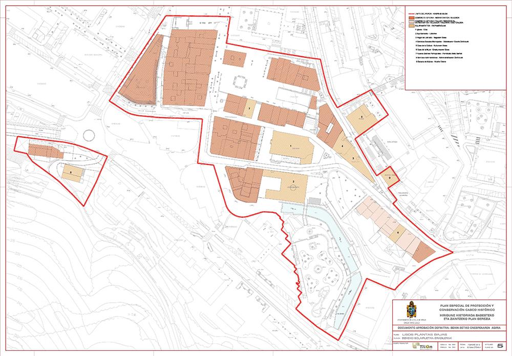 Figura 8: Plano 5 Usos en planta baja. Fuente: Plan Especial de Protección y Conservación del Casco Histórico de Ermua. Autor: TRION Planes y Servicios S.L.P.