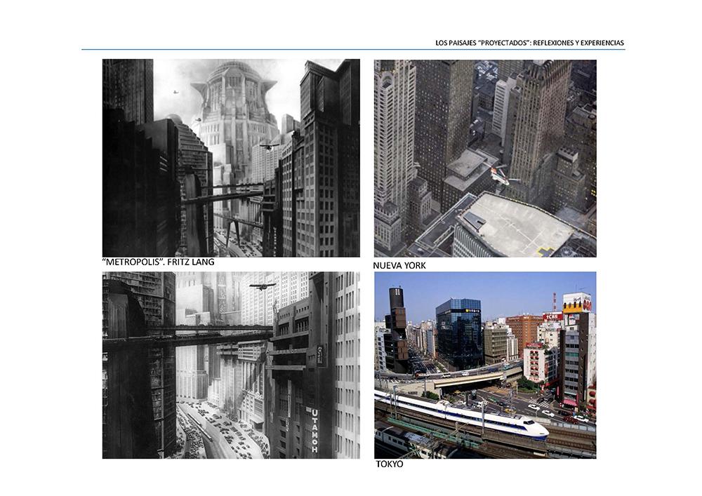 Figura 8. Imágenes de la película Metrópolis de Fritz Lang, e imágenes de las ciudades de Nueva York y Tokio.