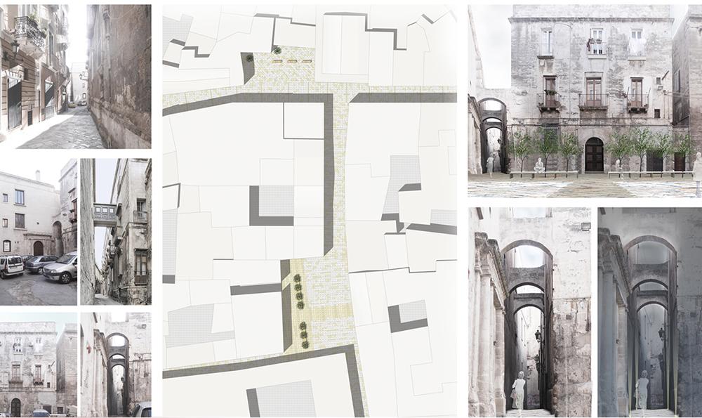 Figura 8. Ejemplos del proyecto: planimetría, imágenes del estado actual (izquierda) y del estado de proyecto (derecha).