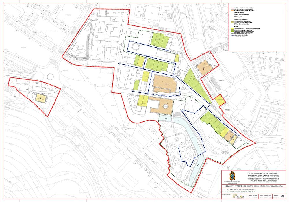 Figura 9: Plano 4. Edificios catalogados. Fuente: Plan Especial de Protección y Conservación del Casco Histórico de Ermua. Autor: TRION Planes y Servicios S.L.P.