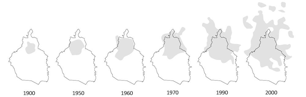 Figura 1. Imagen del crecimiento urbano de la zona metropolitana del valle de México