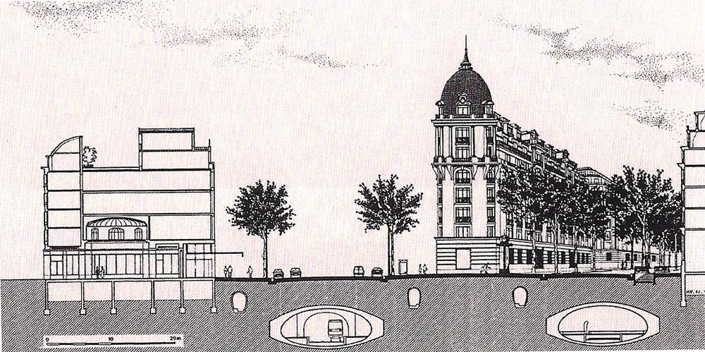 """Figura 3. Boulevard de Italie y de Haussman en Paris, con sus 30 metros de sección y sus aceras anchas arboladas a """"contra-alle"""""""