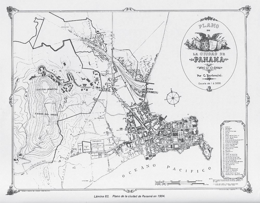 Figura 1: La Ciudad Capital. Plano de la Ciudad de Panamá levantado por don Carlos Bertocini. 1904. (Original propiedad de la señora Esther Neira de Calvo).