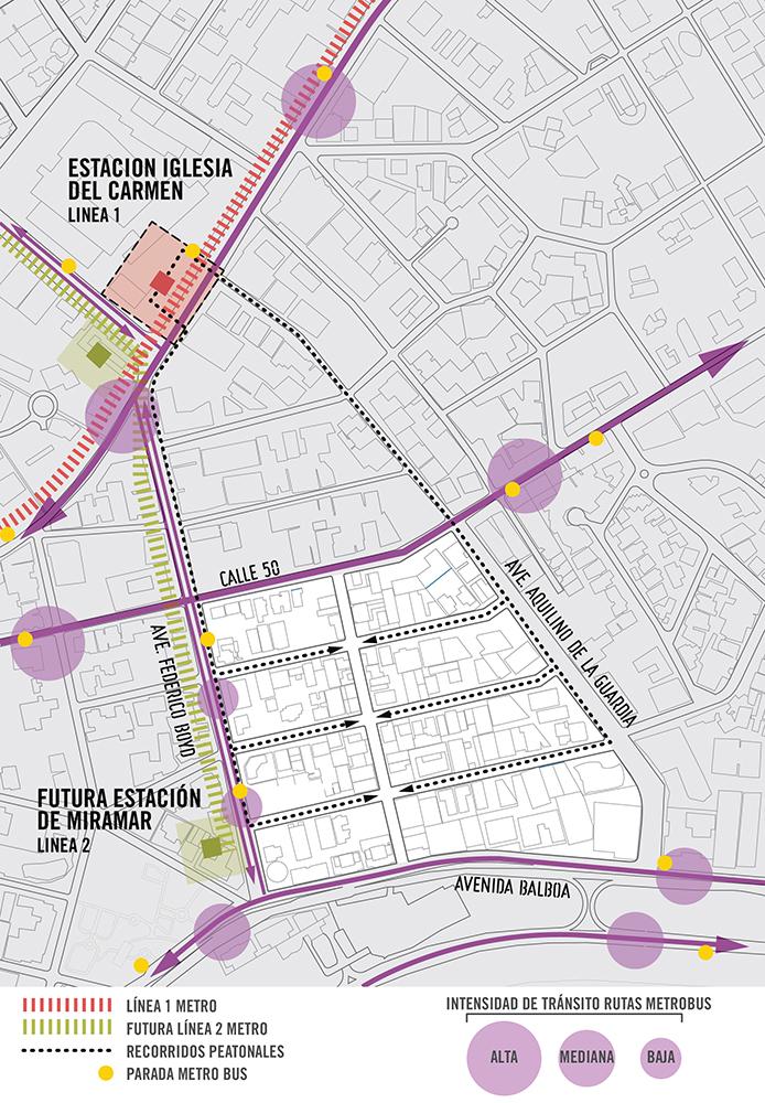 Figura 16. Infografía muestra la situación actual y futura del sistema de transporte público que abastece la zona de intervención y sus alrededores. Infografía realizada por Forzacreativa.