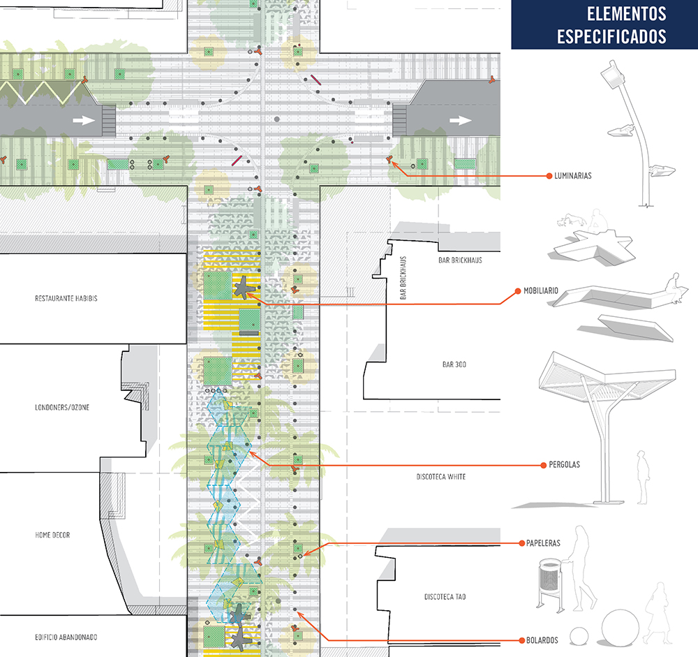 Figura 25. Agrandado de la intersección de Calle Uruguay y calle 48 con los elementos de diseños especificados.