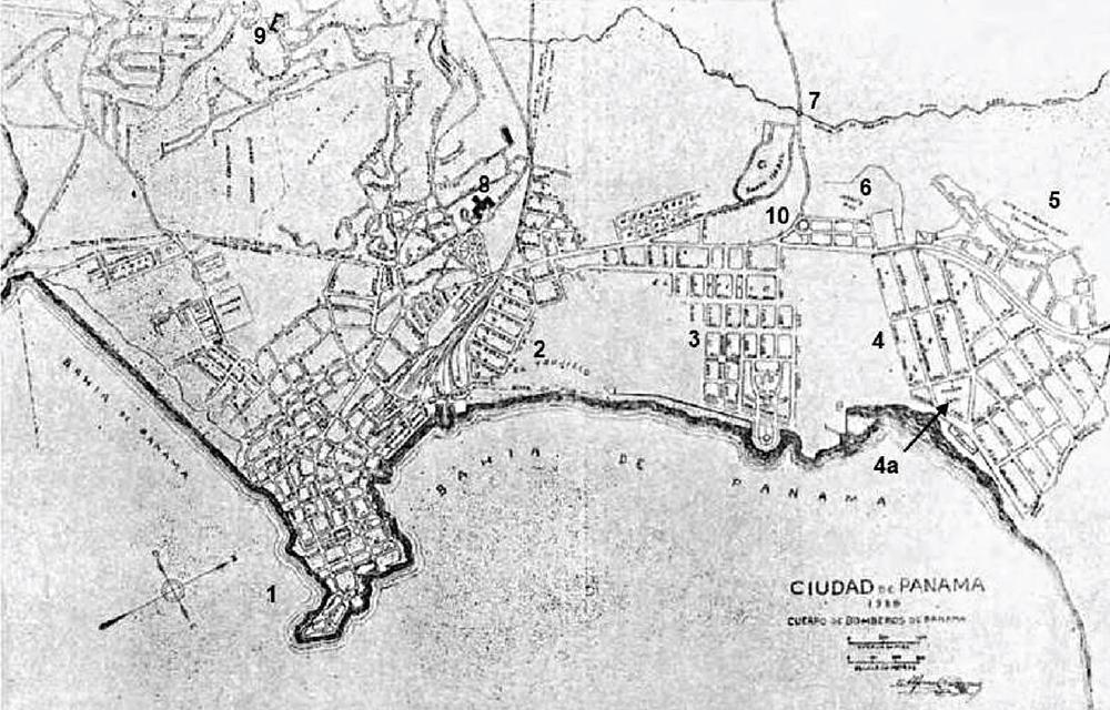 Figura 3. Plano de la Ciudad de Panamá dibujado por el Ingeniero Alfonso Lavergne en 1928. Obsérvese el desarrollo parcial de los barrios de La Exposición y Bella Vista. (Original se encuentra en la Oficina de Seguridad de Panamá).