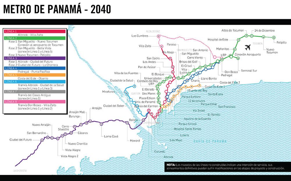 Figura 8. Líneas proyectadas para el Metro de Panamá. Infografía de La Prensa por Alejando Colmenárez. Fuente Metro dePanamá S.A.