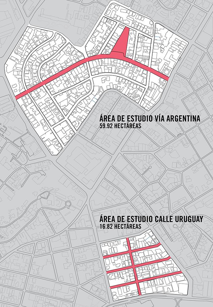 Figura 9. Áreas de intervención escogidas por la Alcaldía para el proyecto de Rehabilitación. Plano elaborado por Forzacreativa.