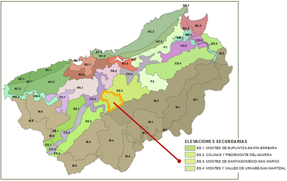 Figura 11: Unidades de paisaje del área funcional de Donostialdea-Bajo Bidasoa, establecidas en el Catálogo y las Determinaciones del Paisaje