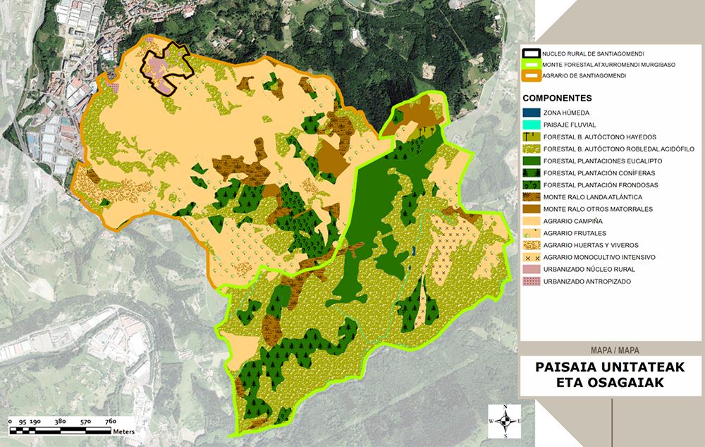 Figuras 12 y 13. Tabla y mapa de Unidades y componentes del paisaje del Corredor Santiagomendi-Landarbaso. Elaboración propia ARAUDI SLP