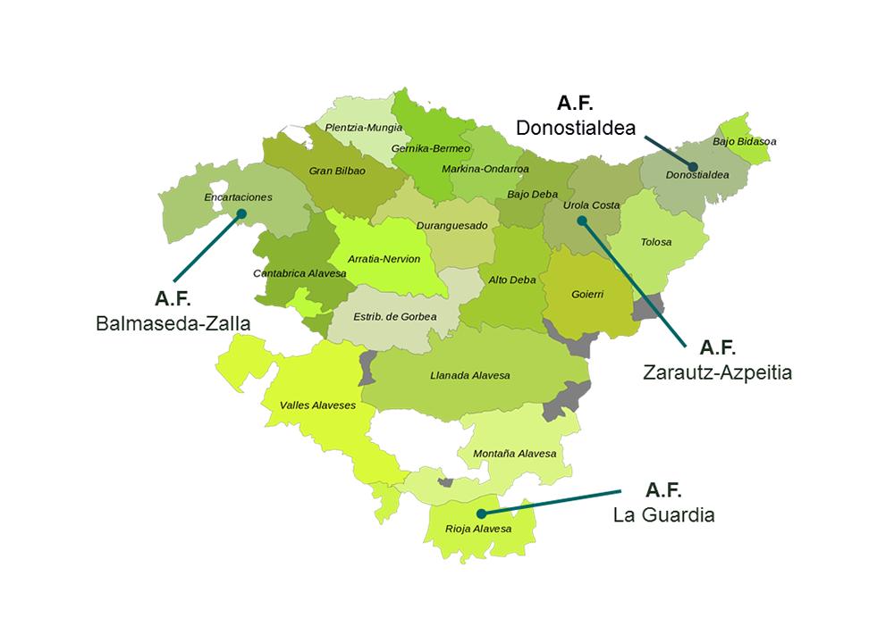 Figura 2. Áreas Funcionales (Comarcas) de la Comunidad Autónoma del País Vasco con Catálogos y Determinaciones del Paisaje. Elaboración propia ARAUDI SLP