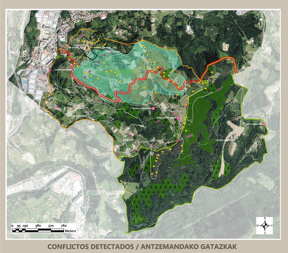 Figura 22: Mapa de conflictos presentes en el territorio objeto del PAP. Elaboración propia ARAUDI SLP