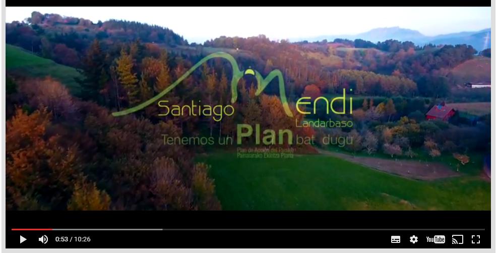 """Figura 28: Primera acción del PAP ejecutada. Video divulgativo """"Los paisajes de Santiagomendi-Landarbaso"""". Elaboración ARAUDI SLP y DONOSTICOPTER."""