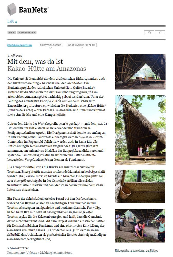 Figuras 38 y 39. A la izquierda, publicación de la Cabaña del Cacao en la revista digital alemana BauNetz. A la derecha, publicación de la Cabaña del Cacao en el periódico El Comercio, Quito Ecuador.