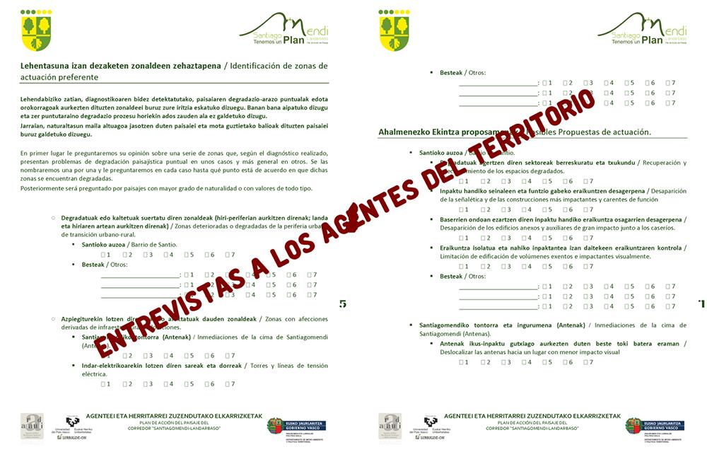 Figura 8. Modelo de páginas del cuestionario guía para las entrevistas a los agentes con influencia y/o conocimiento del paisaje del territorio. Elaborado por el grupo LURRALDE-ON UPV/EHU