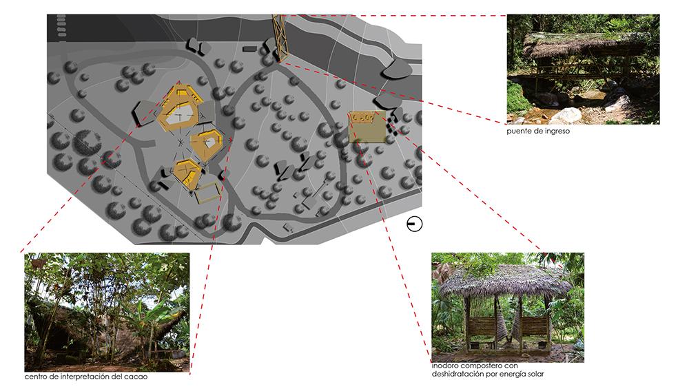 Figura 8. Ubicación de los elementos del proyecto, Cabaña del Cacao, Baño compostero y Puente de acceso de izquierda a derecha