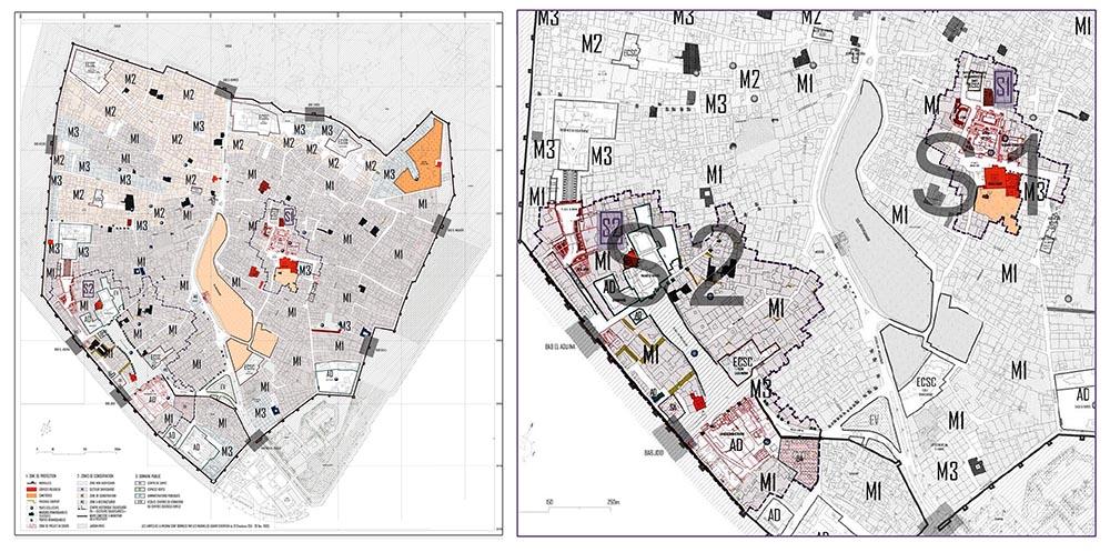 Figure  2: Les deux secteurs sauvegardés de la médina S1 et S2, premier (XIIIe et le XVe siècles) et second (XIXesiècle) centres historiques. Extrait du PASM (Plan de Sauvegarde et de mise en valeur de la Médina) : agence urbaine et  ministère de l'habitat et de la politique de la ville © et Agence d'architecture Salima Naji ©.