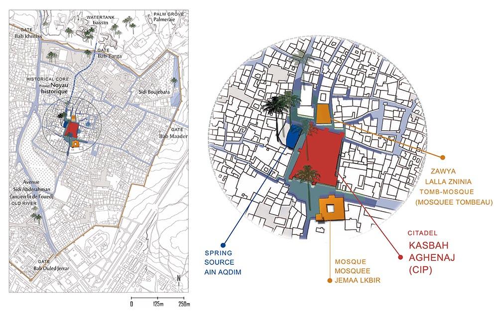 Figure 3 : Situation des projets de Tiznit en son noyau historique fondateur, Salima Naji © tous droits réservés.