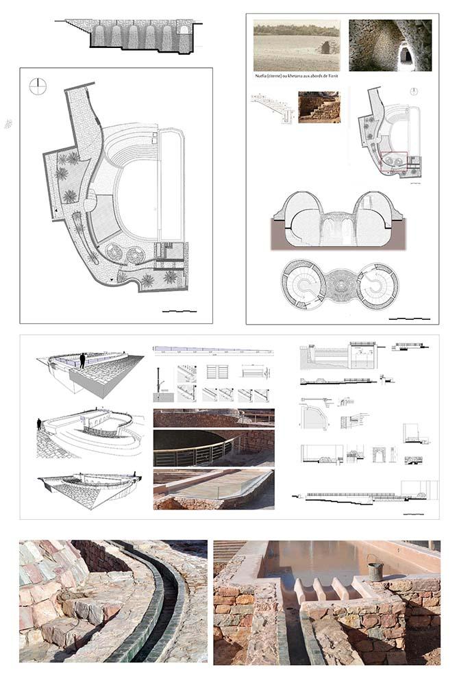 Figure 9 : Dessins du projets et photographies des réalisations, détails. Par ailleurs, un double-circuit ventile et oxygène les bassins : une chute d'eau du petit plan d'eau se jette dans le  grand bassin tandis qu'une séguia (canal d'irrigation) en céramique de Tamgrout verte, longe le grand bassin et permet de recréer un circuit qui irriguera les jardins et sera reversé ensuite dans le bassin, iconographie Agence Salima Naji ©.