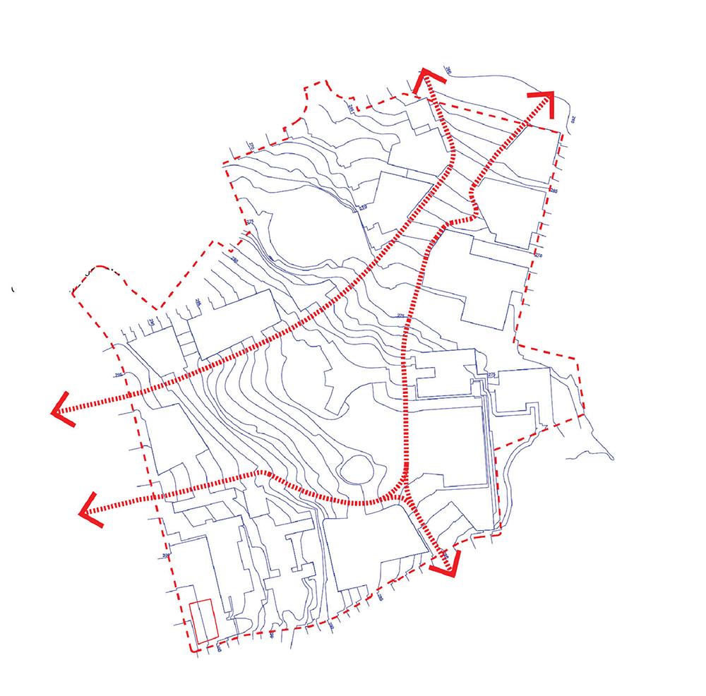 Figura 14. Diagrama de la nueva topografía continua permitiendo recorridos accesibles que atraviesen el ámbito (izq) Figura 15. Diagrama de las operaciones de nivelado y relleno con material de derribo dentro del ámbito (der)
