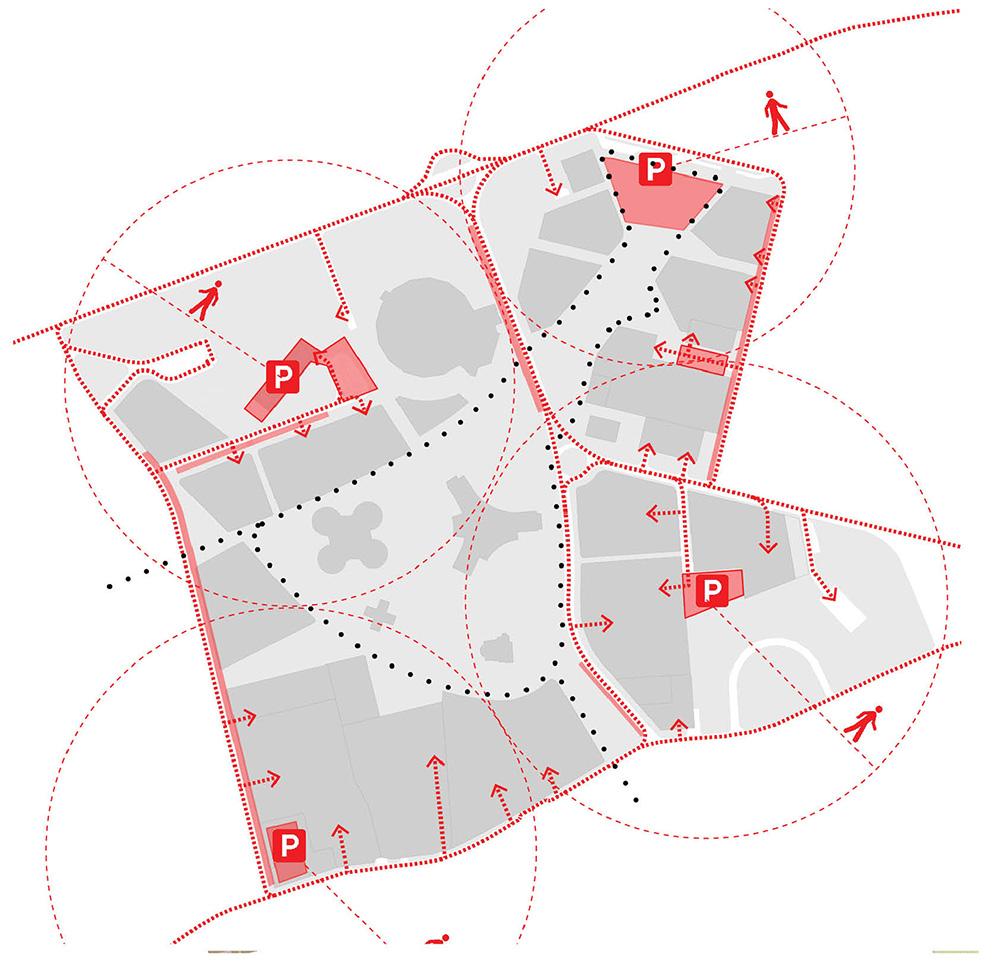 Figura 16. Diagrama de tráfico rodado y bolsas de aparcamiento en el perímetro del ámbito con accesibilidad a todas la parcelas por el perímetro (izq) Figura 17. Diagrama de movilidad peatonal y ciclista a lo largo del Paseo de Ronda con localización de punto alquiler de bicicletas eléctricas y acceso a todas las parcelas por fachada principal (der)