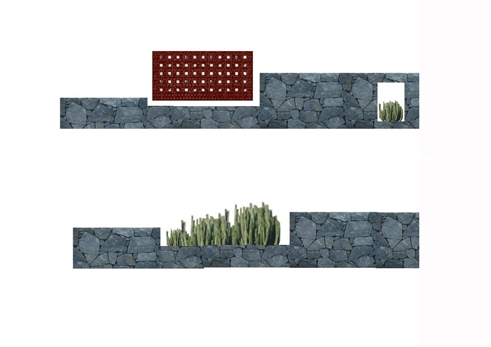 Figura 16. Infografía, muretes de piedra