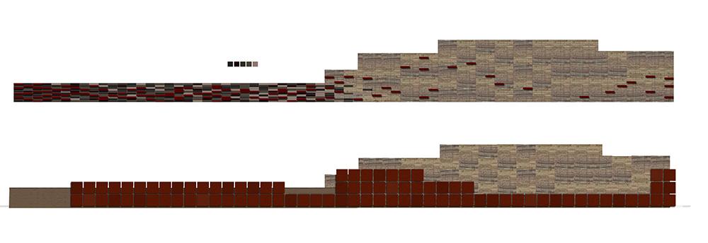 Figura 19. Infografía, acondicionmiento de muros de contención mediante tratamientos cromáticos y paneles de acero cortén