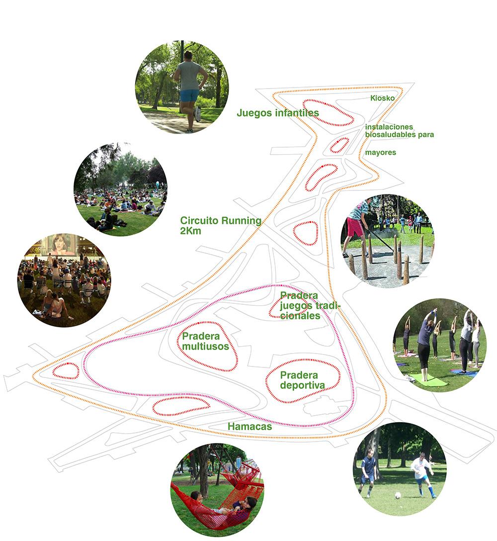 Figura 21.Diagrama de localización de actividades deportivas y de ocio al aire libre (izq) Figura 22. Diagrama de localización de usos y equipamientos públicos (der)