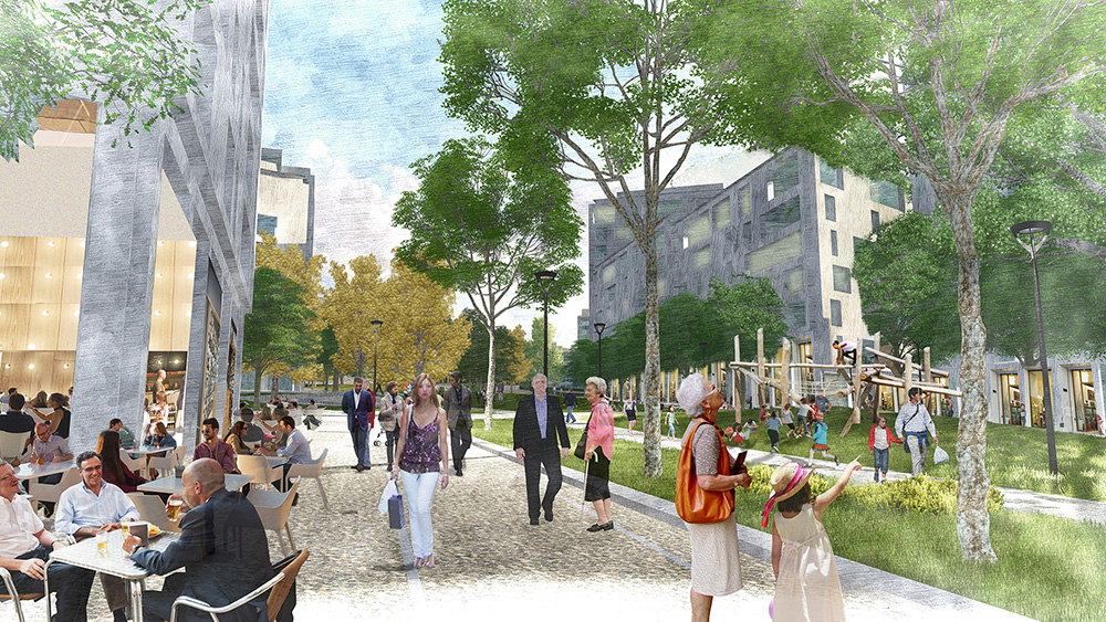 Figura 24.Vista del Bulevar de Buenavista con actividad en las plantas bajas de los edificios residenciales