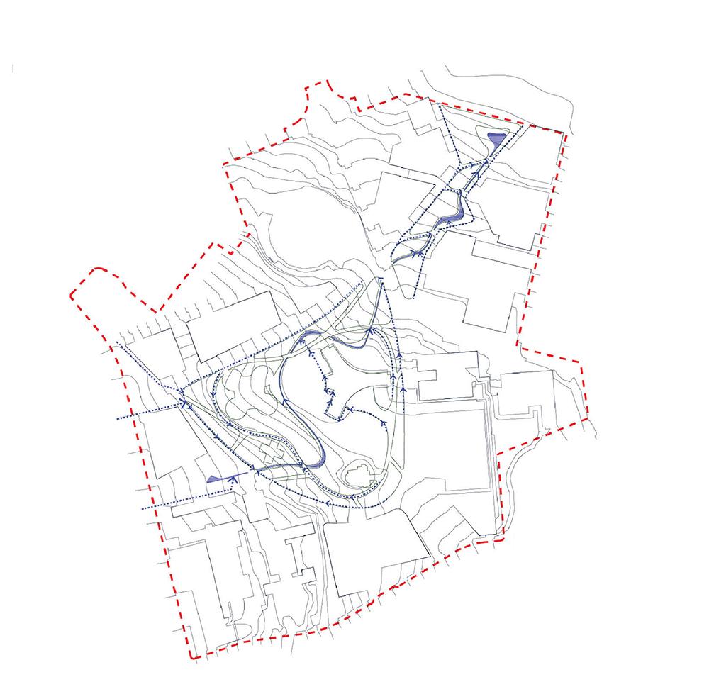 Figura 26. Diagrama de gestión paisajística y sostenible del ciclo del agua a través de la conducción y canalización superficial de las aguas de lluvia hacia una acequia principal que acompaña el trazado de un camino peatonal, el Camino de Agua (izq) Figura 27. Diagrama de la centralización y producción energética y de calefacción a través de un district heating y su posterior distribución en anillo a todo el ámbito (der).