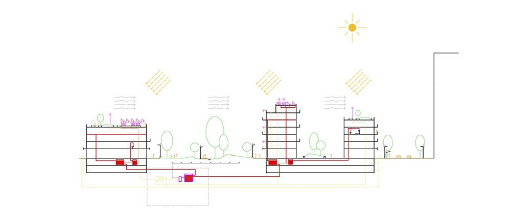 Figura 29. Sección conceptual del sistema de centralización y producción energética y de calefacción