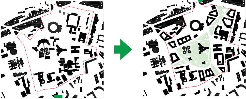 Figura 6. Esquema de la huella edificada: estado actual y ordenación propuesta