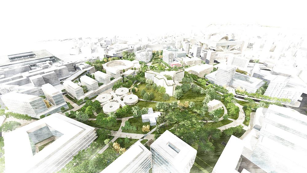 Figura 7. Vista aérea del conjunto de la ordenación con la Campa como espacio urbano estructurante