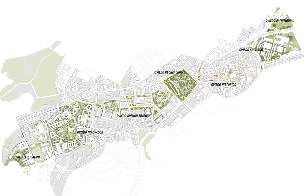 Figura 8.Planta general de Oviedo con el Nuevo eje peatonal y ciclista de la Senda Cultural