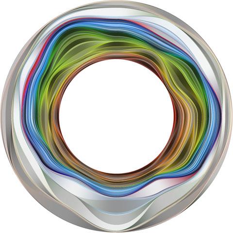 """Figura 2. """"El flujo circular de colores representa el parque de Boston Common a lo largo del tiempo, con el verano en la parte superior; (…) El resultado final es un experimento visual cuyos materiales son el color y el tiempo.""""Fuente: Meirelles, I. 2014."""