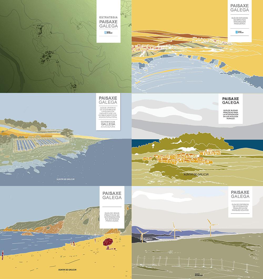 Figura 5. Portadas de la estrategia de paisaje y las guías de la colección Paisaxe Galega del periodo 2011-2013. Fuente: Elaboración propia a partir de las publicaciones mostradas.