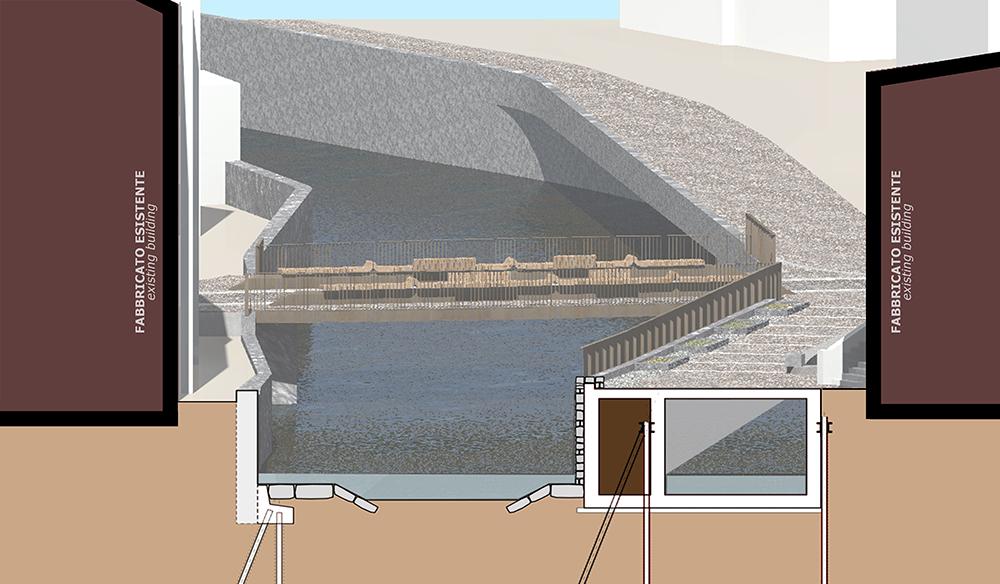 Figura 13. Sección del proyecto del cauce y del canal de alivio.