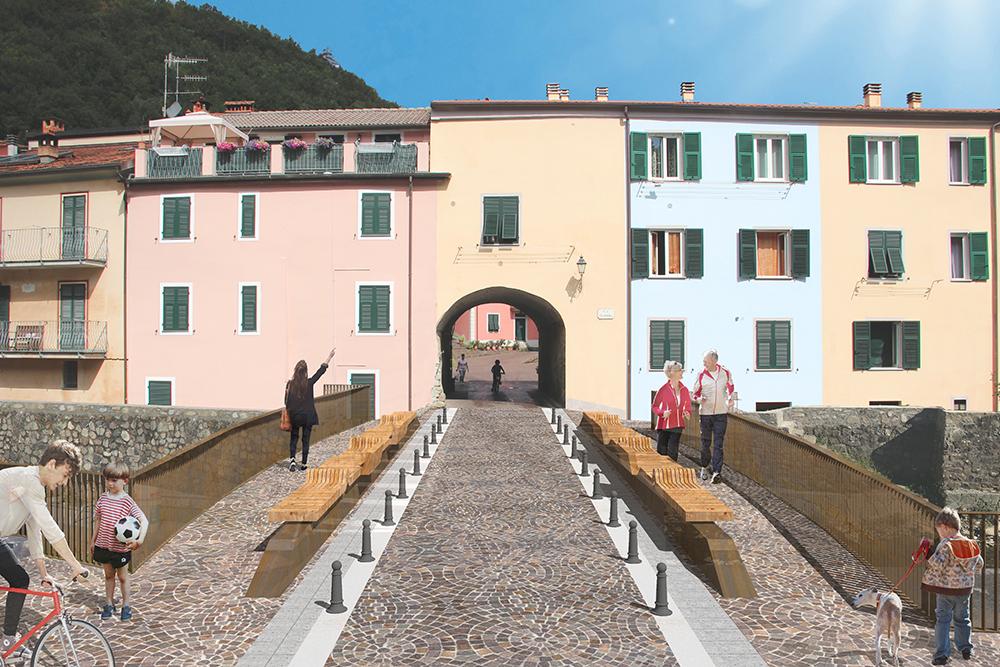 Figuras 15 y 16. Fotomontaje de la entrada al pueblo (izquierda) y sobre el nuevo puente (derecha).
