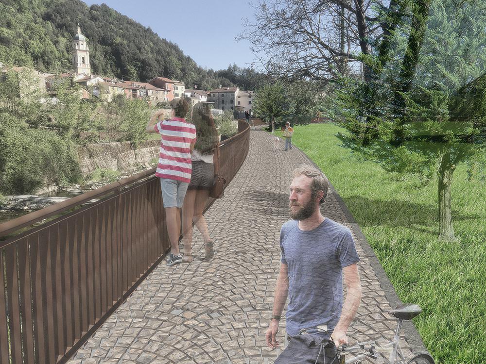 Figura 18. Fotomontaje del recorrido ciclo peatonal sobre el nuevo margen.