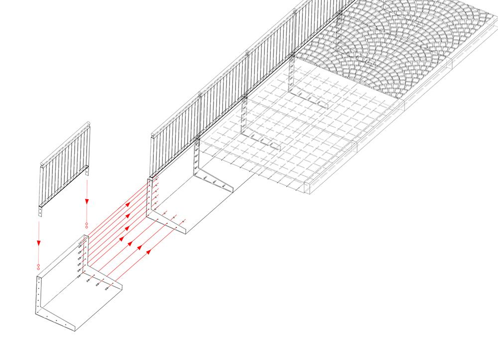 Figuras 19 y 20. Esquema de montaje del paseo en acero corten (izquierda) y esquema del embalse.