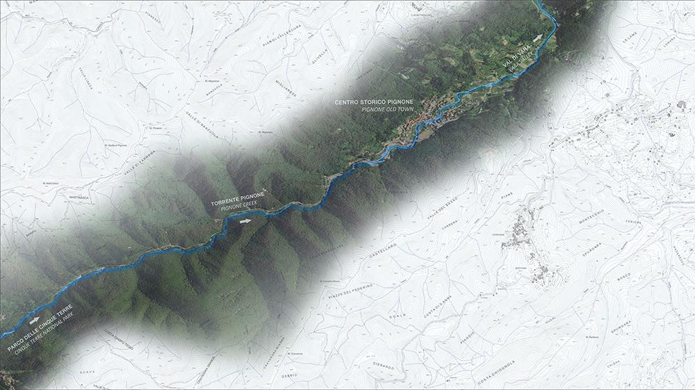 Figura 3. Localización del centro histórico de Pignone y del torrente homónimo.