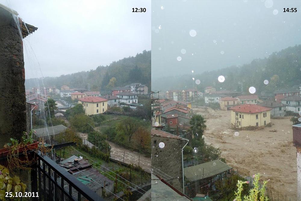 Figura 4. Fotografías obtenidas durante la inundación del 25 de octubre de 2011 a distintas horas. Se aprecia la rapidez con la que aumentó el nivel del agua del torrente Pignone.