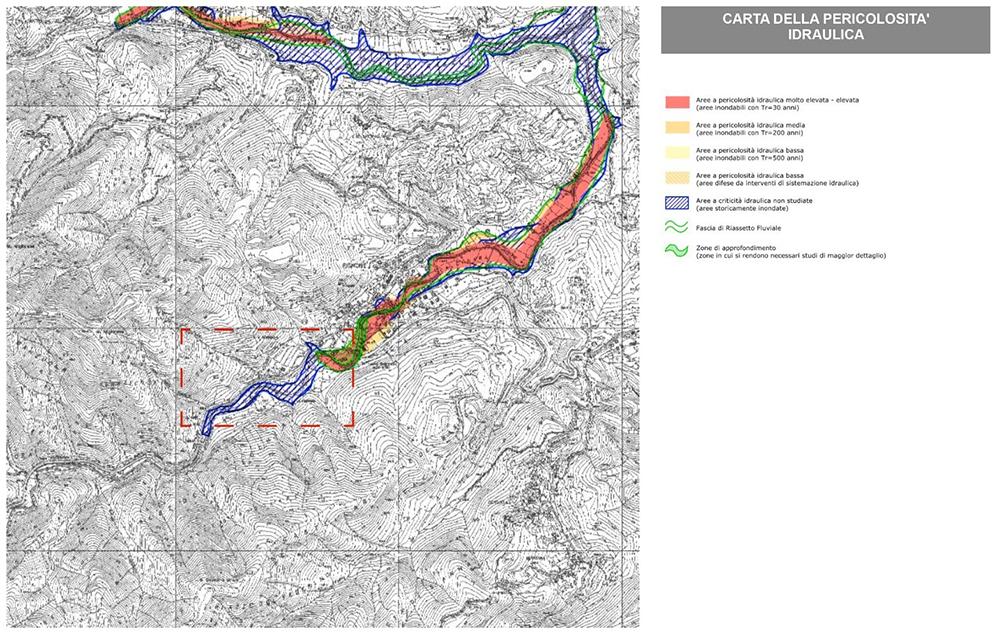 Figura 5. Extracto del mapa de peligrosidad hidráulica redacatado por la Autoridad de la cuenca del río Magra.